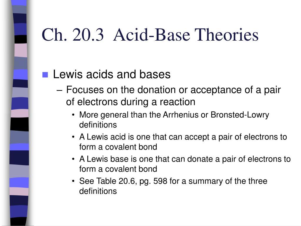 Ch. 20.3  Acid-Base Theories