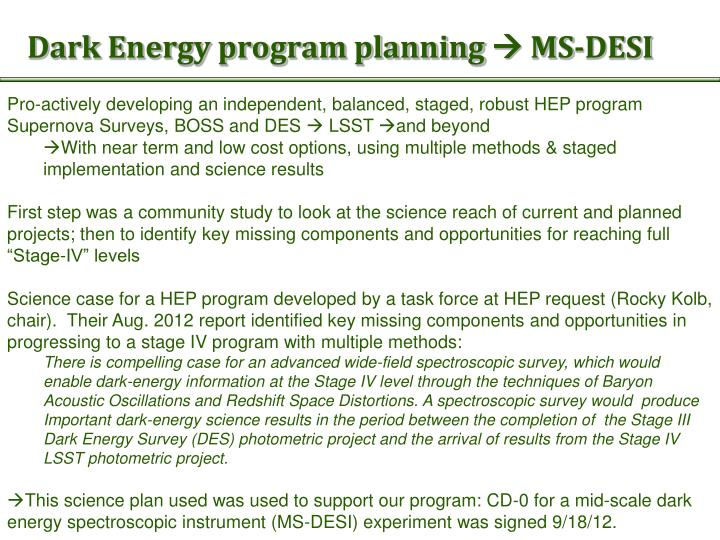 Dark energy program planning ms desi