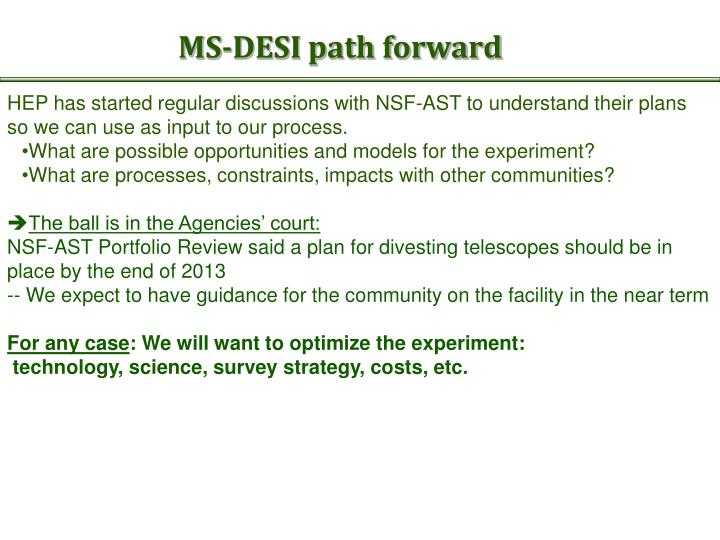 MS-DESI path forward