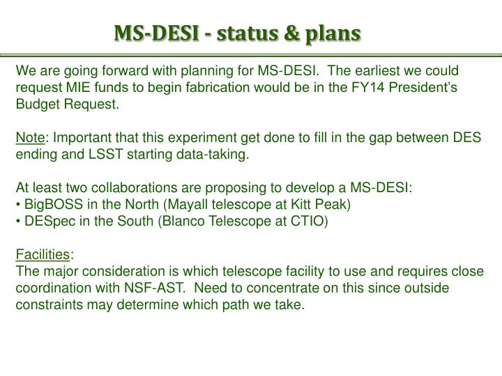 MS-DESI - status & plans