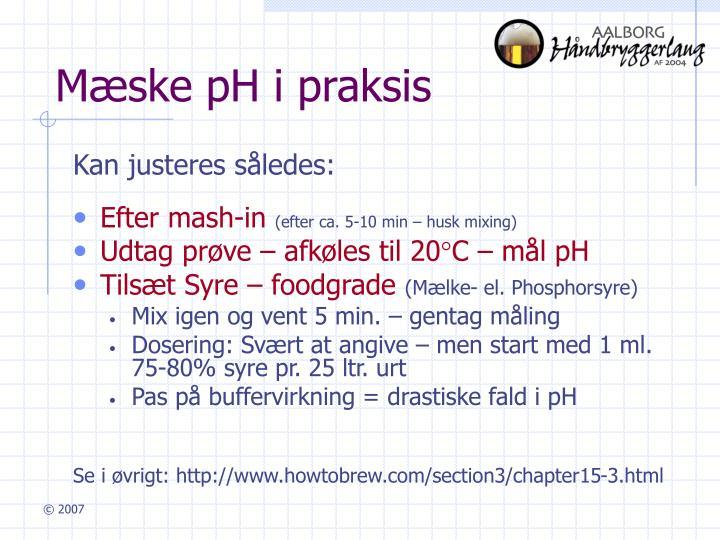 Mæske pH i praksis