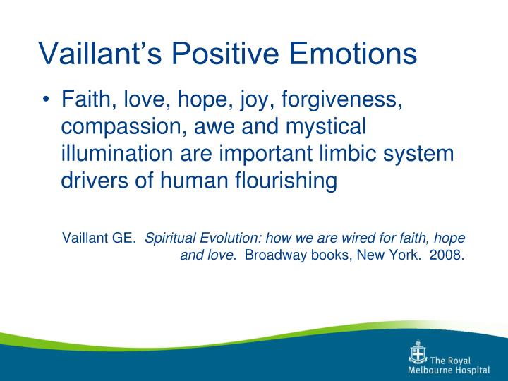 Vaillant's Positive Emotions