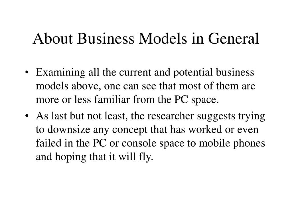 About Business Models in General