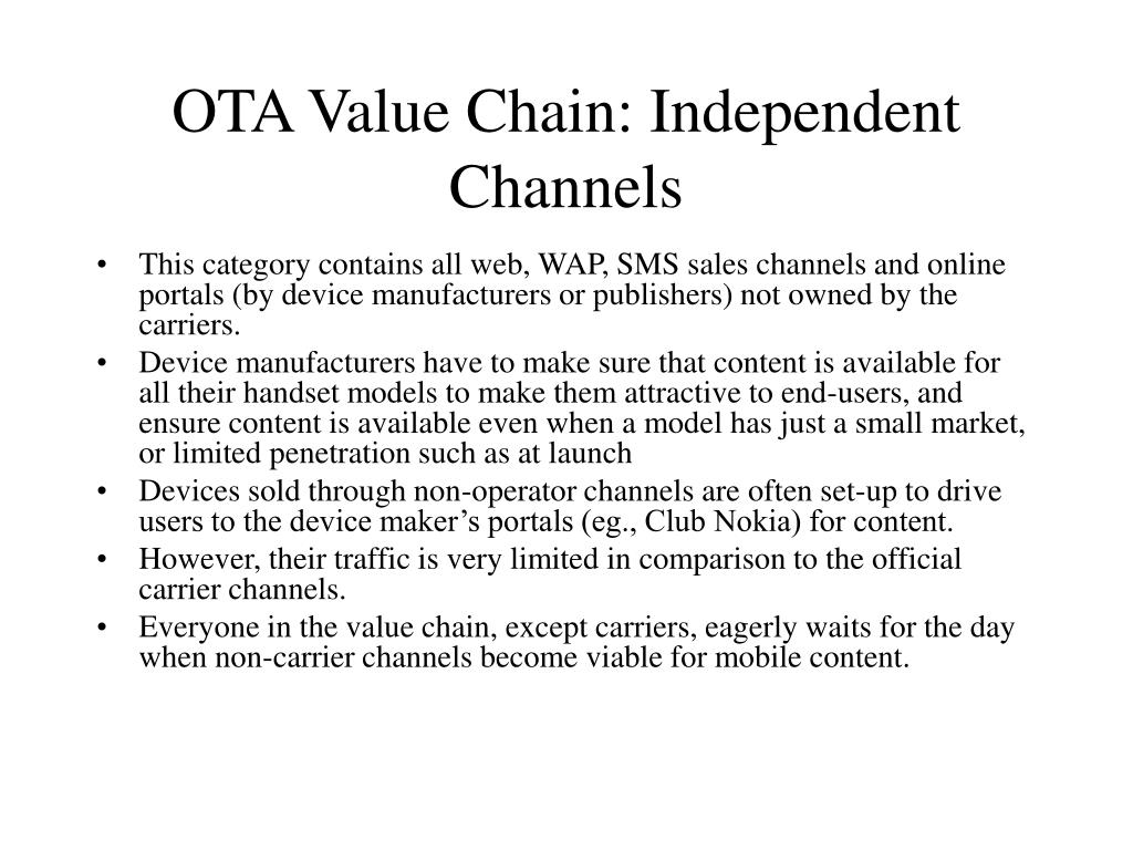 OTA Value Chain: Independent Channels