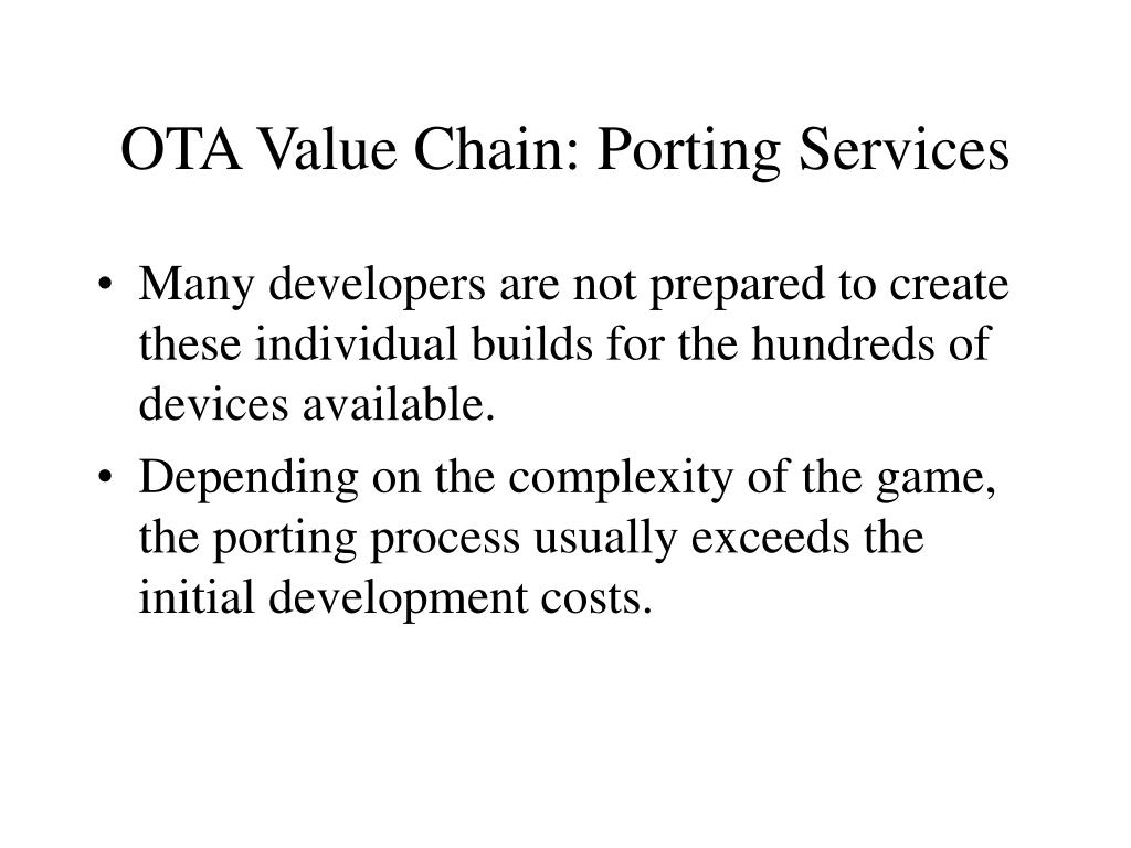 OTA Value Chain: