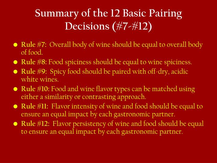 Summary of the 12 Basic Pairing Decisions (#7-#12)