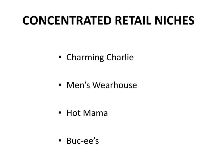 CONCENTRATED RETAIL NICHES