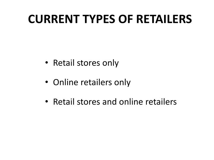 CURRENT TYPES OF RETAILERS