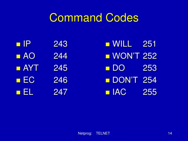Command Codes