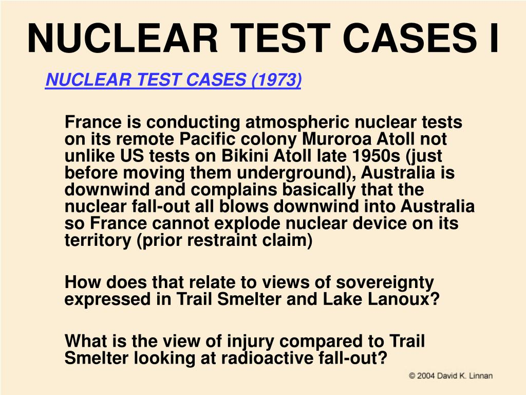 NUCLEAR TEST CASES I