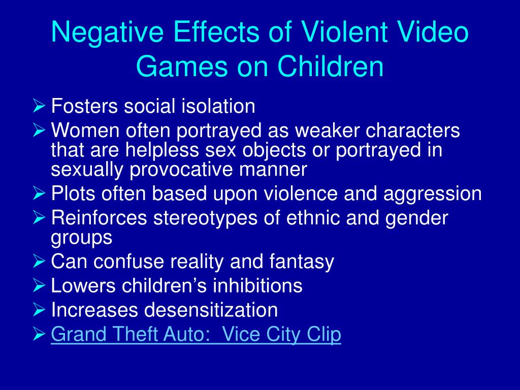 Negative Effects of Violent Video Games on Children