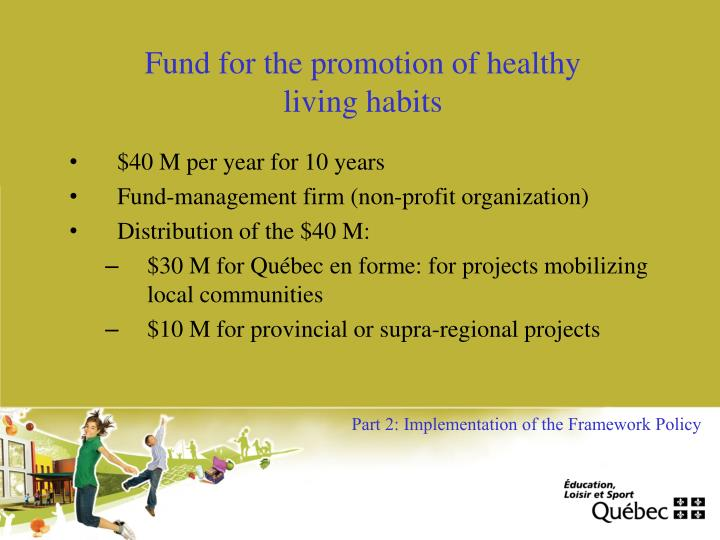 Fund for the promotion of healthy