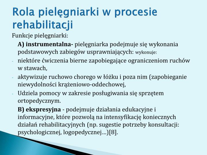 Rola pielgniarki w procesie rehabilitacji