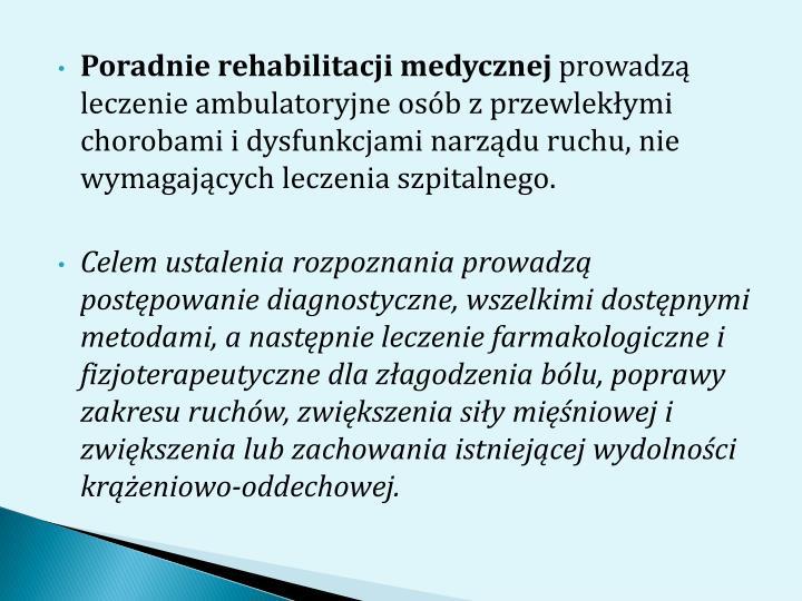 Poradnie rehabilitacji medycznej