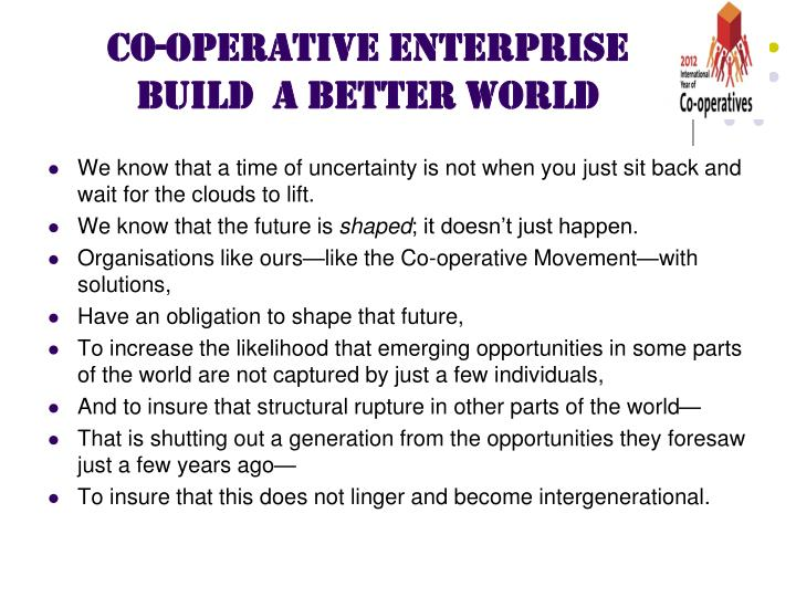 CO-OPERATIVE ENTERPRISE