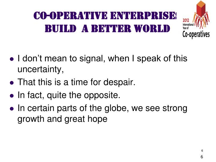CO-OPERATIVE ENTERPRISES