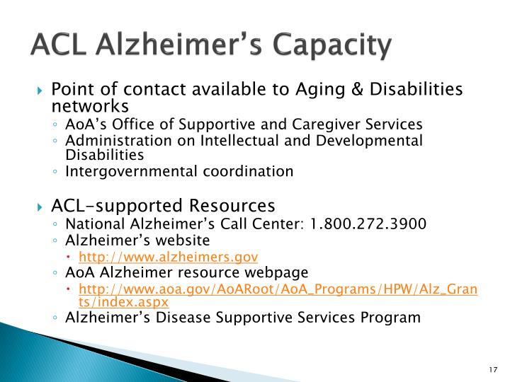 ACL Alzheimer's Capacity