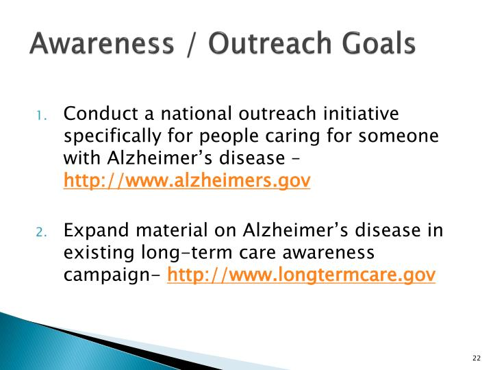 Awareness / Outreach Goals