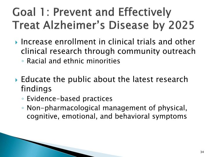 Goal 1: Prevent and Effectively Treat Alzheimer's Disease by 2025