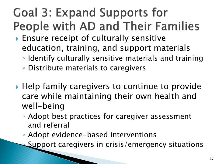 Goal 3: Expand Supports for People with AD and Their Families