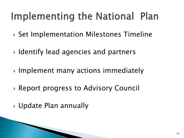 Implementing the National  Plan