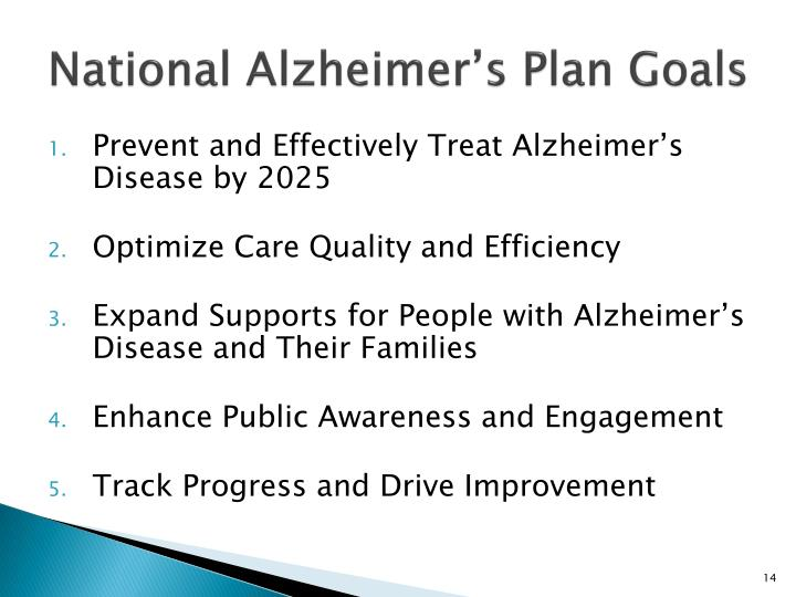 National Alzheimer's Plan Goals
