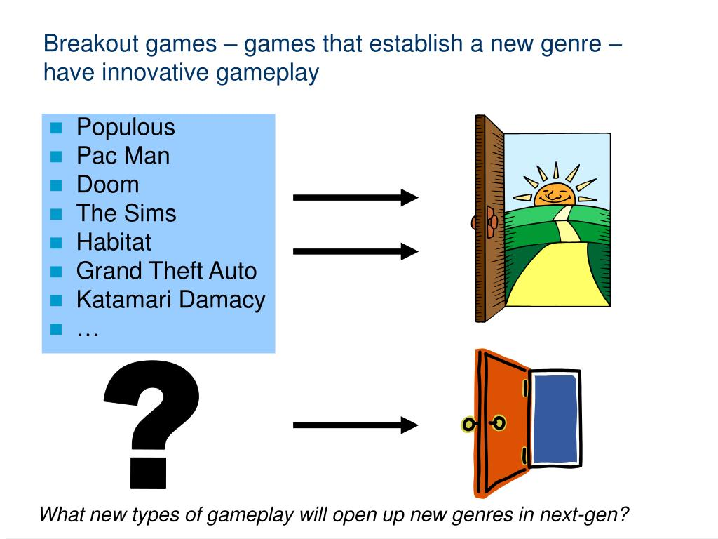 Breakout games – games that establish a new genre – have innovative gameplay