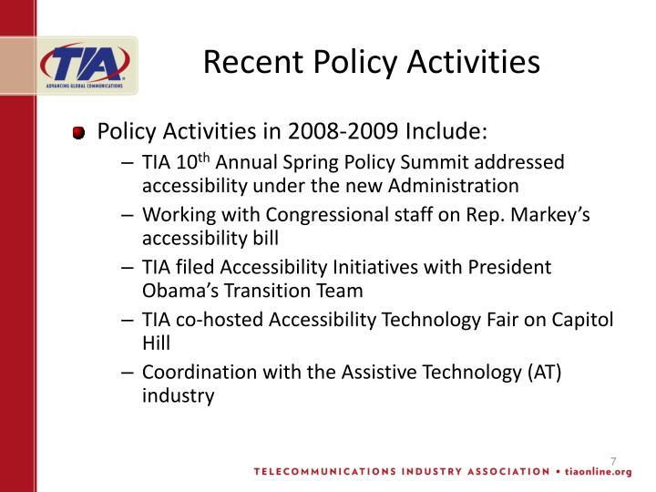 Recent Policy Activities