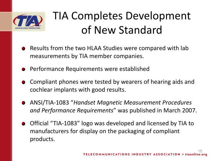 TIA Completes Development of New Standard