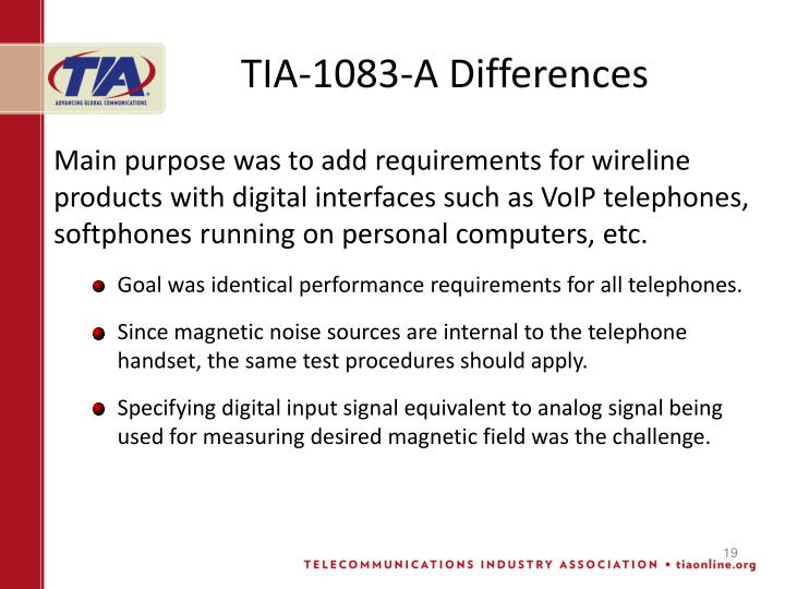 TIA-1083-A Differences