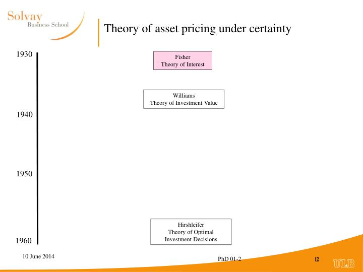 Theory of asset pricing under certainty