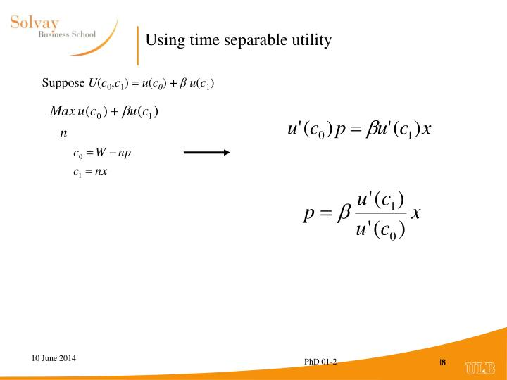 Using time separable utility
