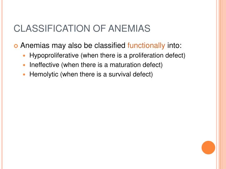 CLASSIFICATION OF ANEMIAS