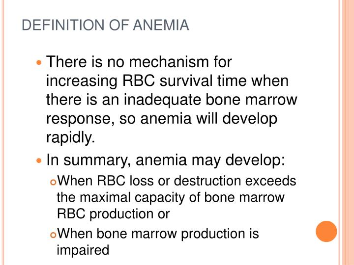 DEFINITION OF ANEMIA