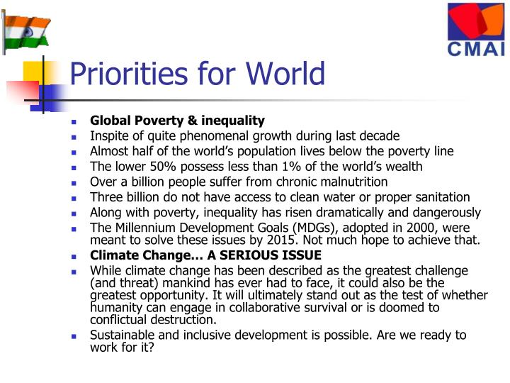 Priorities for World