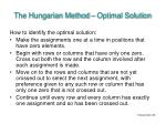 the hungarian method optimal solution