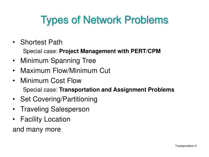 Types of network problems