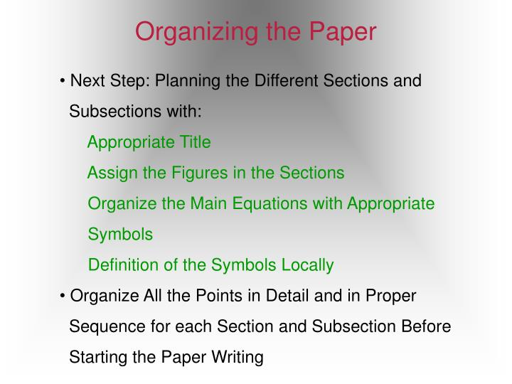 Organizing the Paper