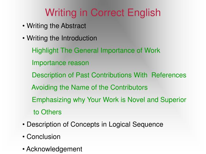 Writing in Correct English