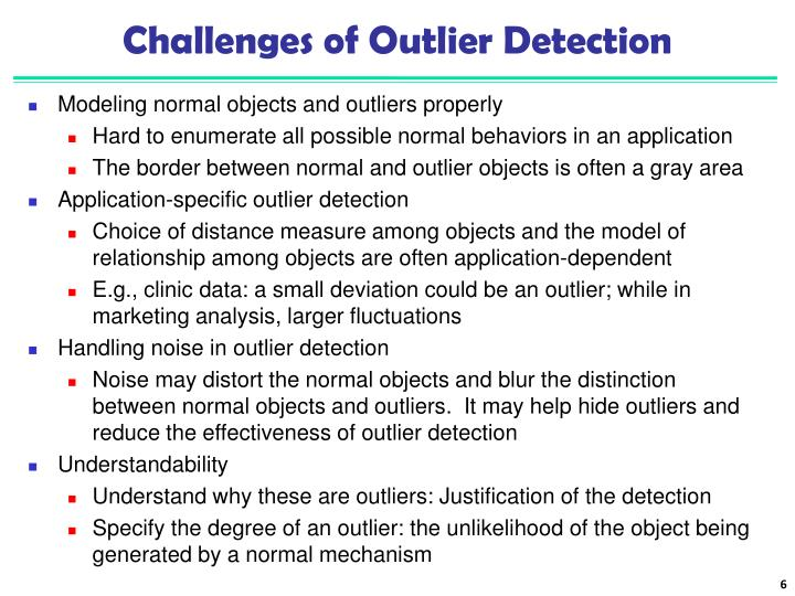 Challenges of Outlier Detection