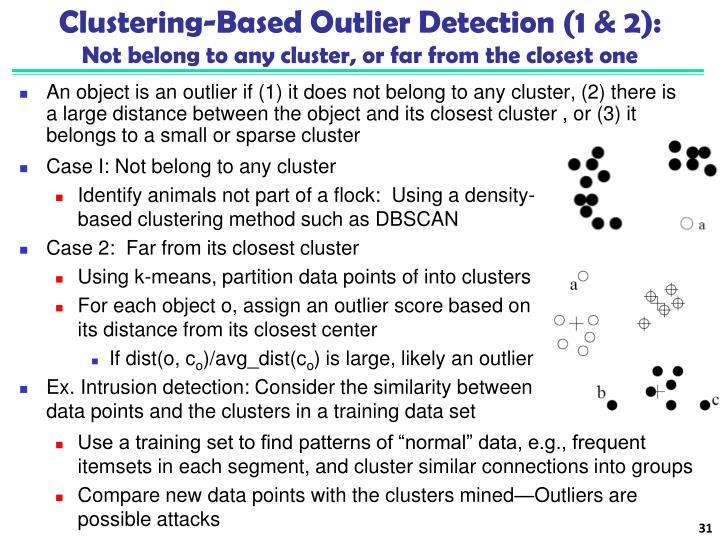 Clustering-Based Outlier Detection (1 & 2):