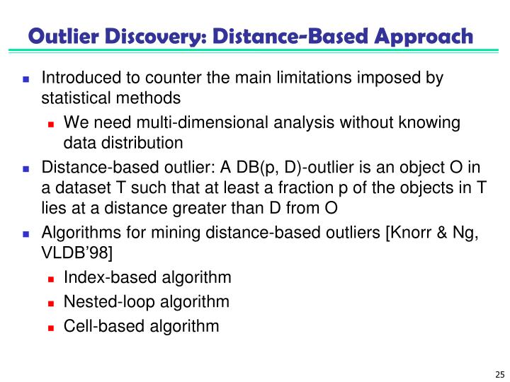 Outlier Discovery: Distance-Based Approach