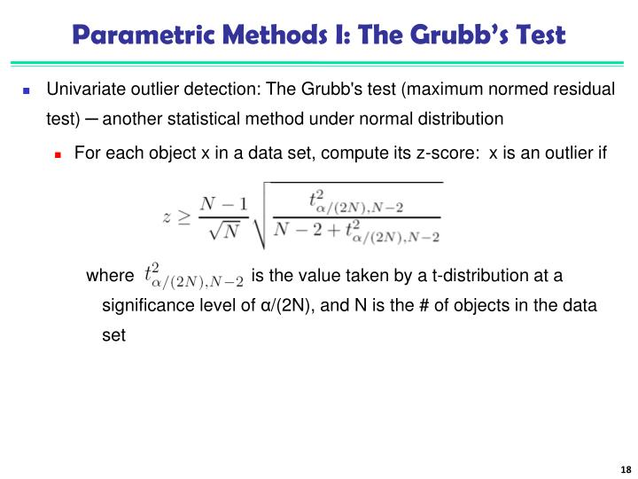 Parametric Methods I: The Grubb's Test
