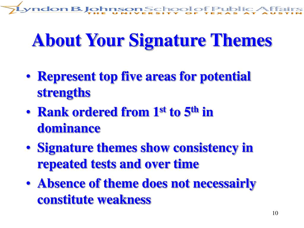About Your Signature Themes