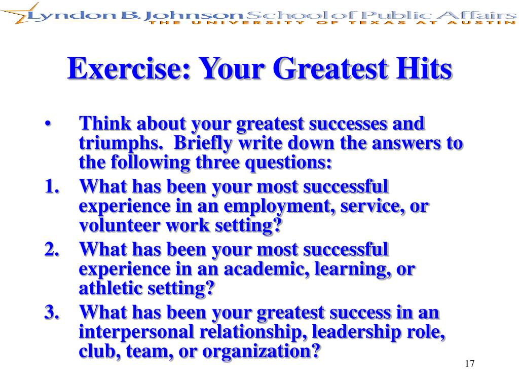 Exercise: Your Greatest Hits