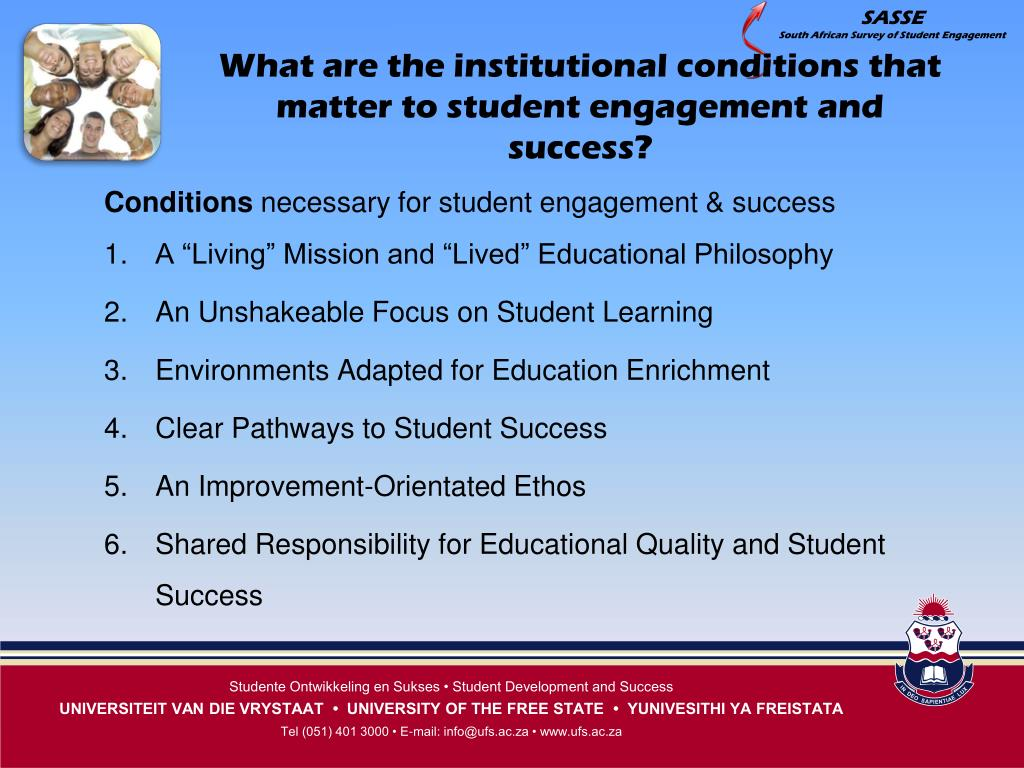 What are the institutional conditions that matter to student engagement and success?