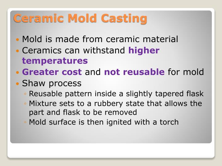 Mold is made from ceramic material
