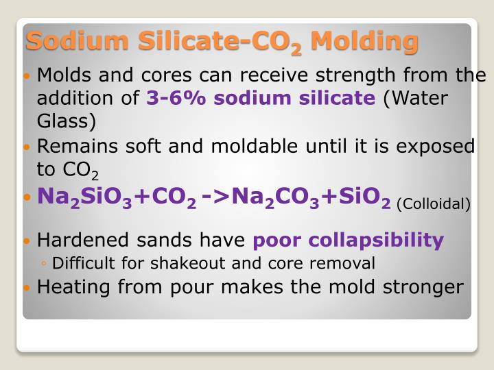 Molds and cores can receive strength from the addition of