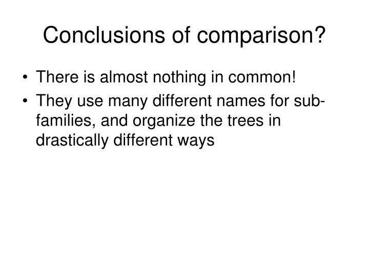 Conclusions of comparison?