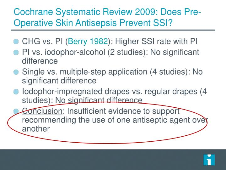Cochrane Systematic Review 2009: Does Pre-Operative Skin Antisepsis Prevent SSI?